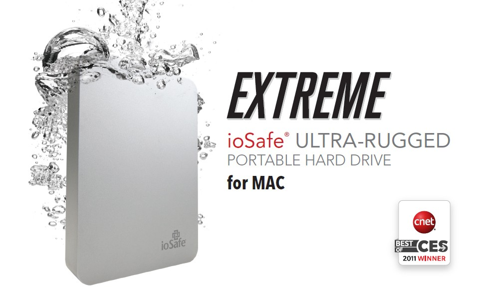 500GB Portable Hard Drive, ioSafe Rugged + 3 Year Data Recovery Service, Firewire 800 / USB 2.0